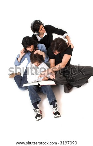 happy family spending time together over white background