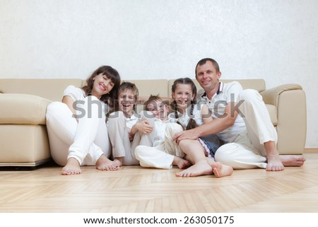 happy family spends together time - stock photo