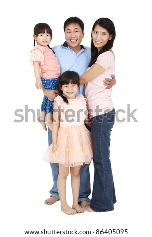 happy family stand together and isolated on white background - stock photo