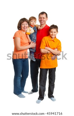 happy family studio full length portrait on white - stock photo