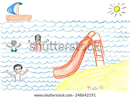 Happy family swimming in sea. Father, mother and child on vacation. Child's drawing. - stock photo
