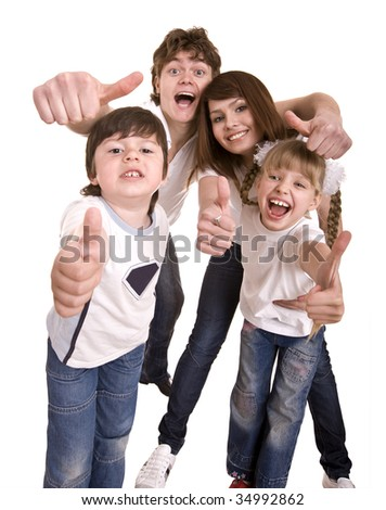 Happy family throw out thumb.Isolated. - stock photo