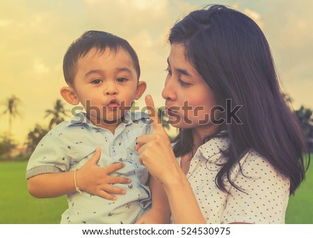 Happy family time of mom and son, family outdoor activity