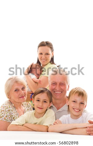 happy family   together on a white background - stock photo