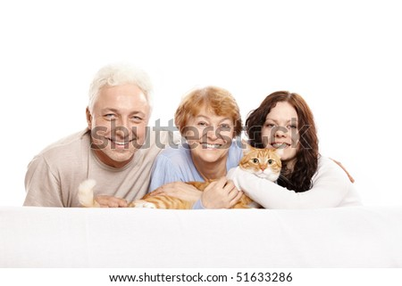 Happy family together with a cat on a white background - stock photo