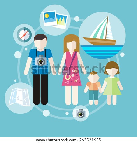 Happy family trip traveling. Parents with their children going for vacations. Concept in flat design. Raster version - stock photo