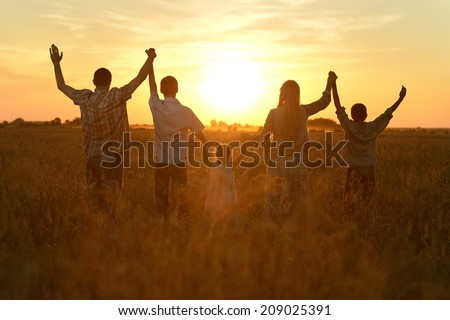Happy family walking in field on sunset and holding hands - stock photo