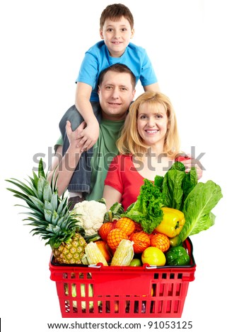 Happy family with a grocery shopping basket. Isolated on white background. - stock photo