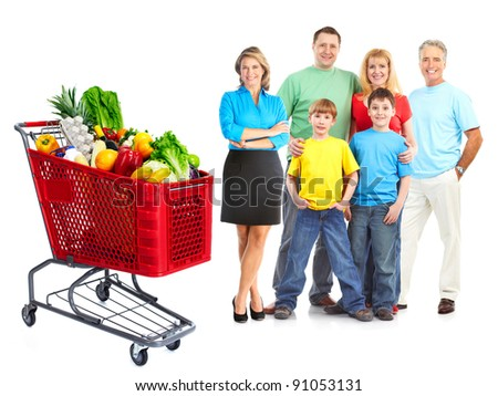 Happy family with a grocery shopping cart. Isolated on white background. - stock photo