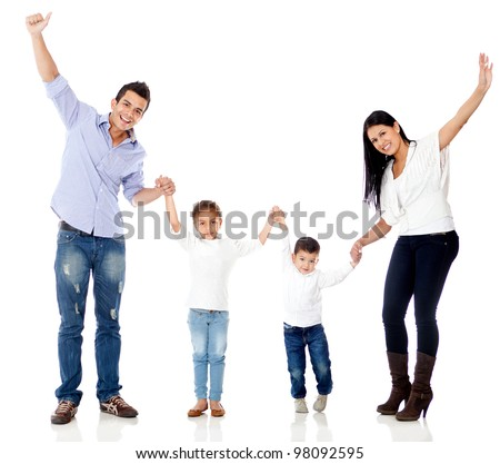 Happy family with arms up - isolated over a white background