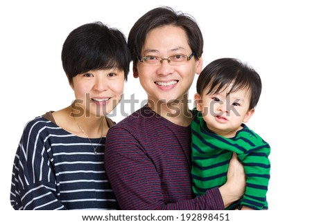 Happy family with baby son - stock photo