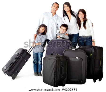 Happy family with bags ready for traveling - isolated over a white background - stock photo