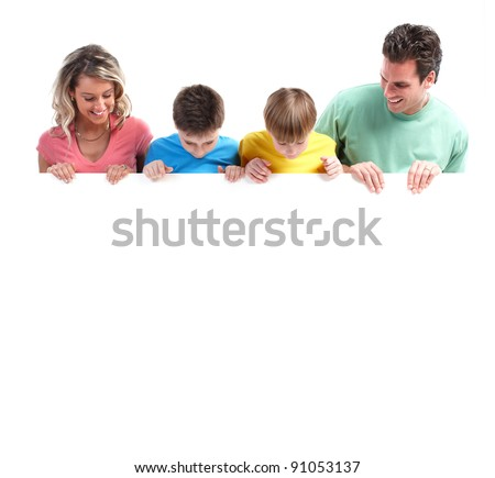 Happy family with banner. Over white background