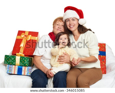 Stock Royalty Free & Vectors #0: stock photo happy family with box t woman with child and elderly holiday concept