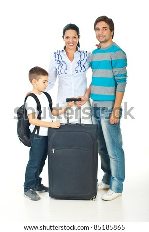 Happy family with child going to travel - stock photo