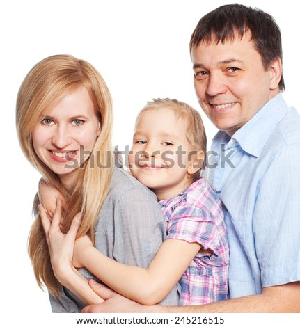 Happy family with child isolated on white background. Parents with daughter studio shot