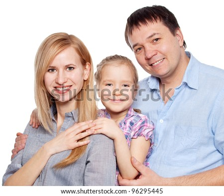 Happy family with child isolated on white background. Parents with daughter studio shot - stock photo