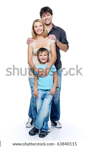 Happy family with child posing on white background - stock photo