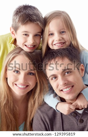 Happy family with children - stock photo
