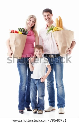 Happy family with food on a white background - stock photo