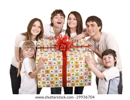 Happy family with gift box. Isolated. - stock photo