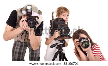 Happy family with group camera. Isolated. - stock photo