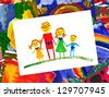 happy family with illustration collage - stock photo