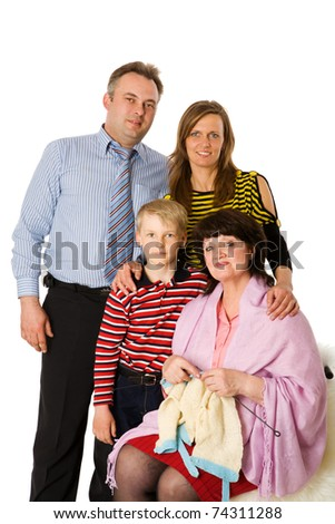 Happy Family with kid and grandmother together isolated on white
