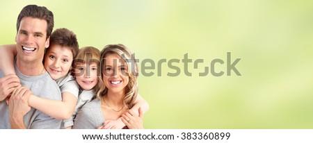 Happy family with kids  - stock photo