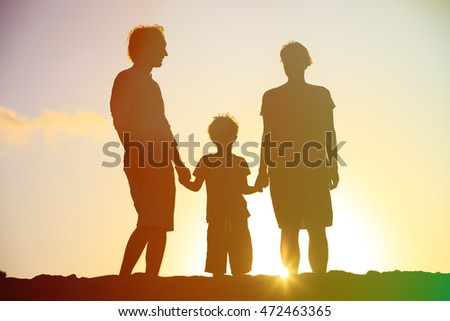 happy family with little boy at sunset