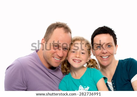 happy family with one daughter in front of white background