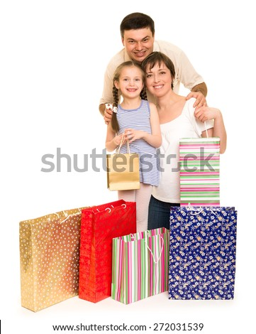 happy family with shopping bag - stock photo