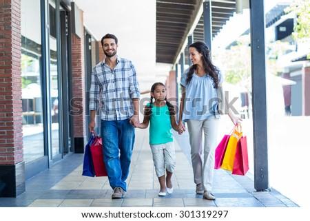 Happy Family Shopping Bags Mall Stock Photo 301319297