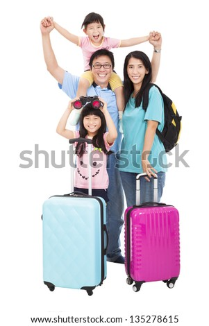 happy family with suitcase going on holiday - stock photo