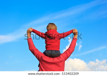 happy family with the sky on background