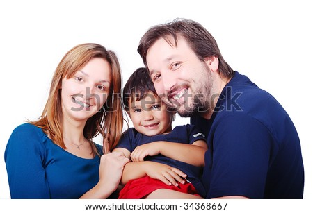 Happy family with tree members - stock photo