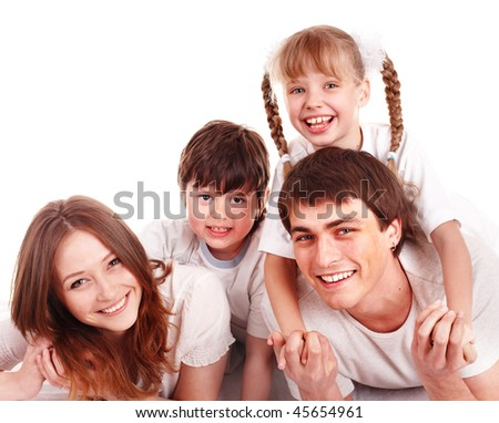 Happy family with two  children.  Isolated. - stock photo