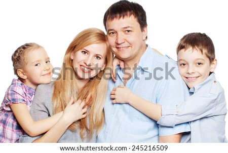 Happy family with two children isolated on white background. Parents with daughter and son studio shot