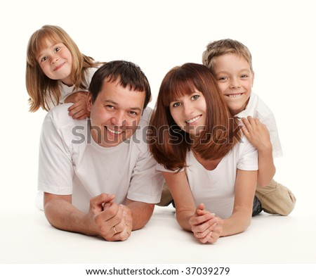 Happy family with two children separately on a white background - stock photo