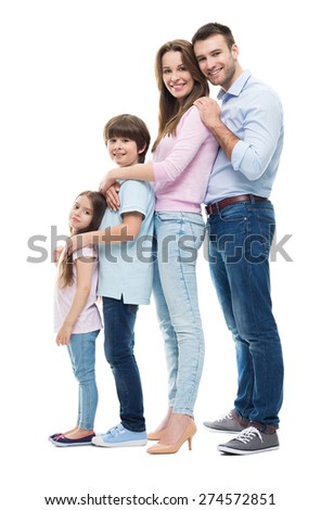 Happy family with two kids - stock photo