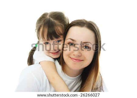 happy family, young beautiful mother and her little daughter embracing