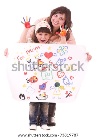 Happy family, young beautiful mother and her little daughter with color paint on white background - stock photo