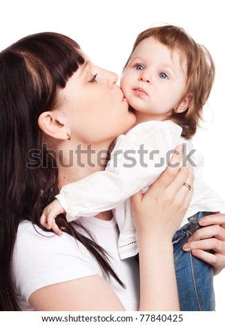 happy family, young beautiful mother embracing and kissing her daughter, isolated against white background - stock photo