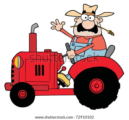 Happy Farmer In Red Tractor Waving A Greeting - stock photo