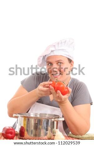 Happy fat chef - stock photo