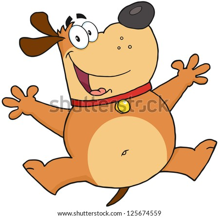 Happy Fat Dog Jumping. Raster Illustration.Vector version also available in portfolio. - stock photo