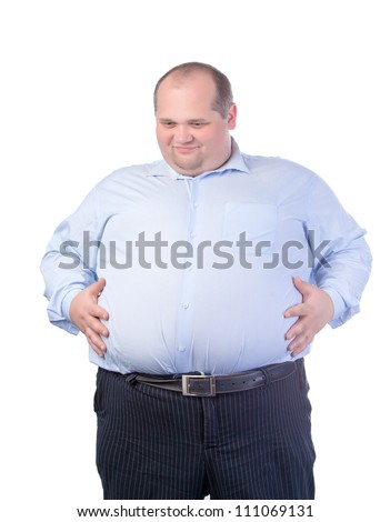 Happy Fat Man in a Blue Shirt, isolated - stock photo