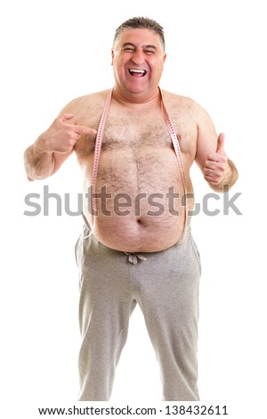 Happy fat man with a tape measure around his neck isolated on white background