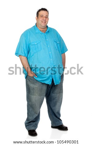 Happy fat man with blue shirt isolated on white background - stock photo