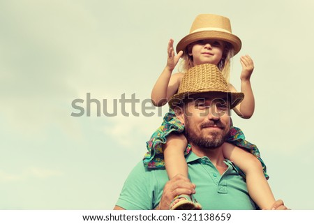 Happy father and daughter having fun together, family time concept - stock photo